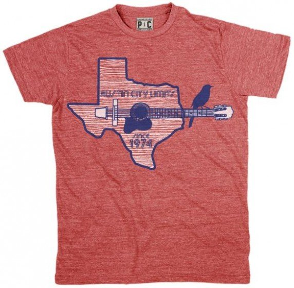 Men's Heather Red Shirt w/ Texas Guitar Outline