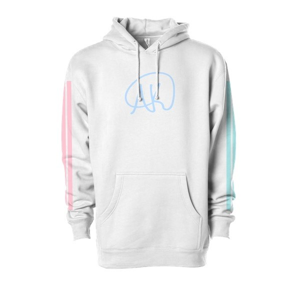 White Logo Hoodie with Stripes
