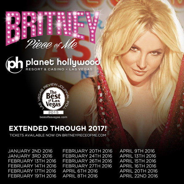 """Piece Of Me"" extended through 2017! Tickets for 2016 dates on sale now!"
