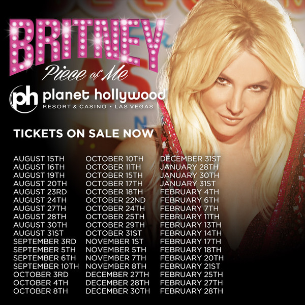 'Piece Of Me' Tickets On Sale NOW!