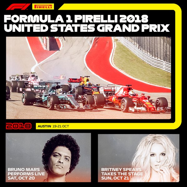 BRITNEY TO HEADLINE FORMULA 1 PIRELLI 2018 UNITED STATES GRAND PRIX