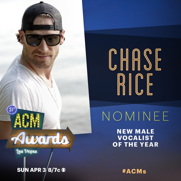 Chase Nominated For New Male Vocalist of the Year at 2016 ACM Awards