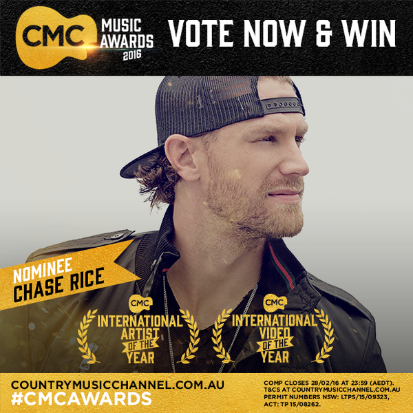Vote Chase Rice in the CMC Music Awards