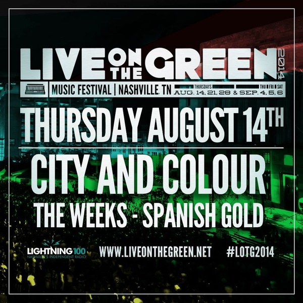 SHOW ANNOUNCE: Live on the Green, Nashville TN - Aug 14 - FREE!