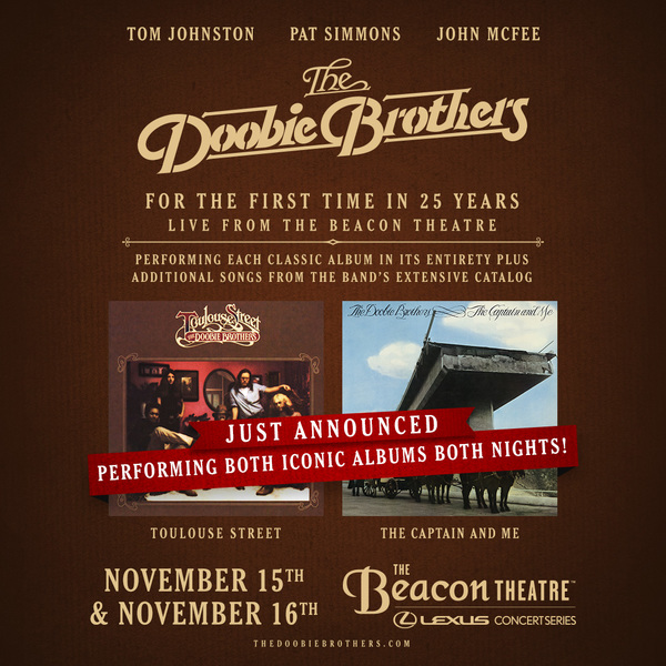 The Doobie Brothers Double Down on Historic Shows - Beacon Theatre Nov. 15 & 16