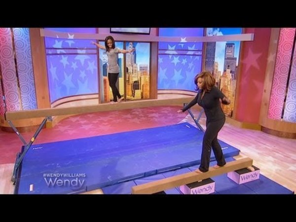 Gabby Douglas Teaches Wendy How to Walk the Balance Beam