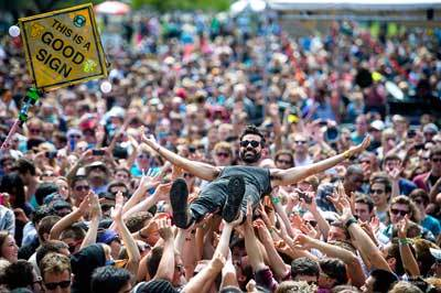 Mike Deni crowdsurfing at Outside Lands 2012