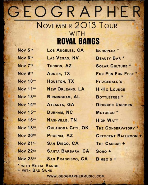 geographer november tour dates