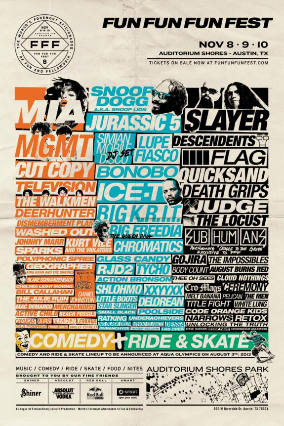 Fun Fun Fun Fest Lineup Poster