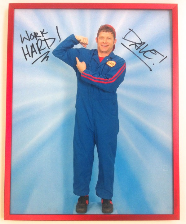 Autographed Mover Dave Flexing Red Frame Photo