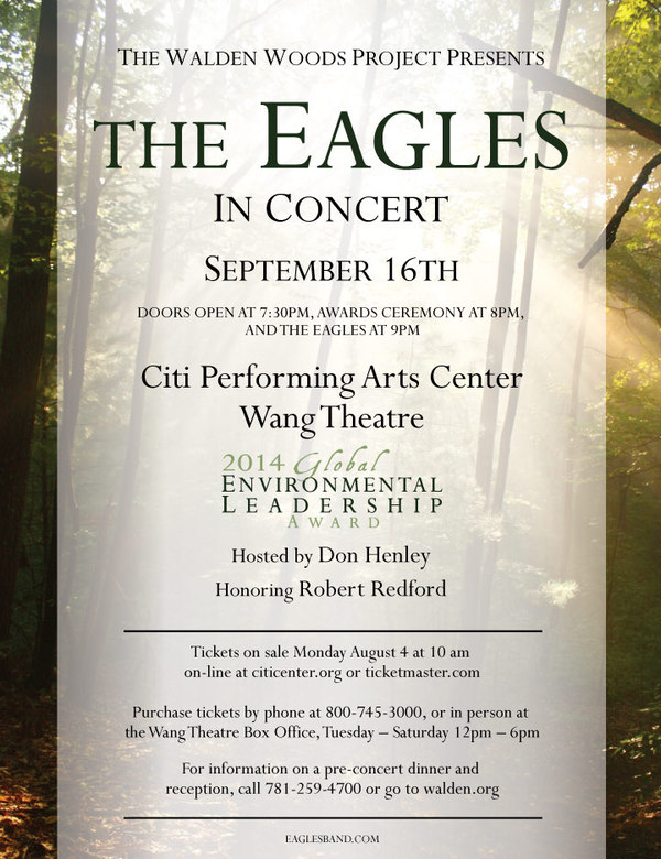 Eagles to Perform at the Walden Woods Project's 2014 Global Environmental Leadership Award Event