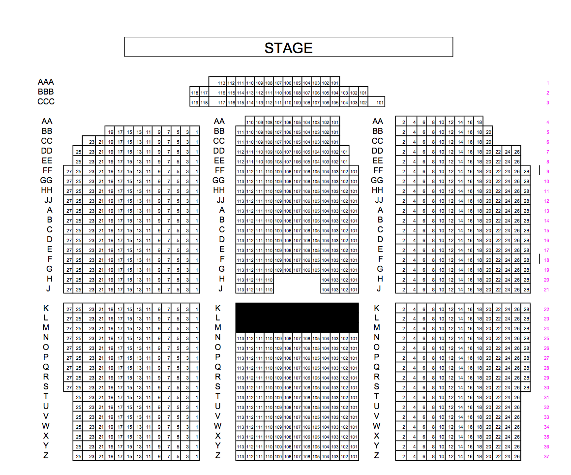 Melissa Etheridge Official Site Black Box Theatre Diagram Ucf Seating Charts Please Reference The Chart For A Of These Locations