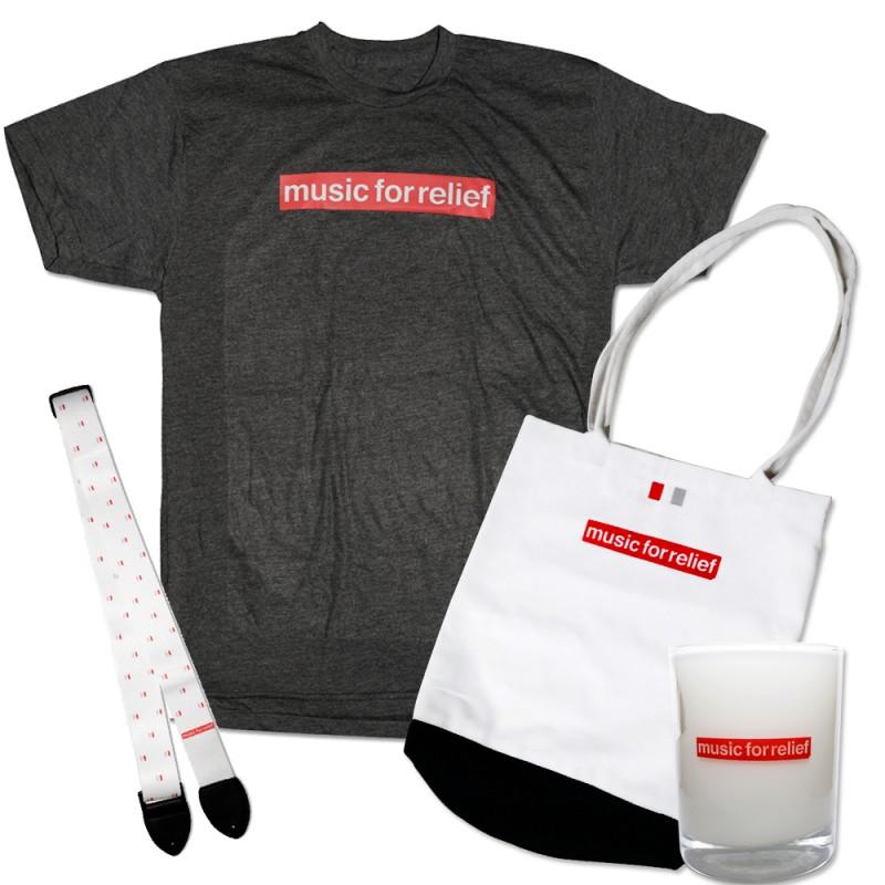 T-Shirt (Men's) + White Guitar Strap + Candle + Tote Bag