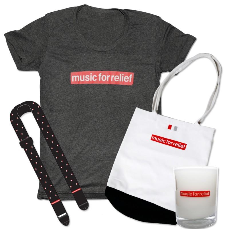 T-Shirt (Women's) + Black Guitar Strap + Candle + Tote Bag