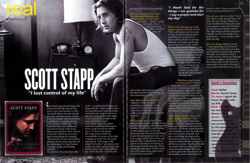 Real Magazine features Scott Stapp + Sinner's Creed