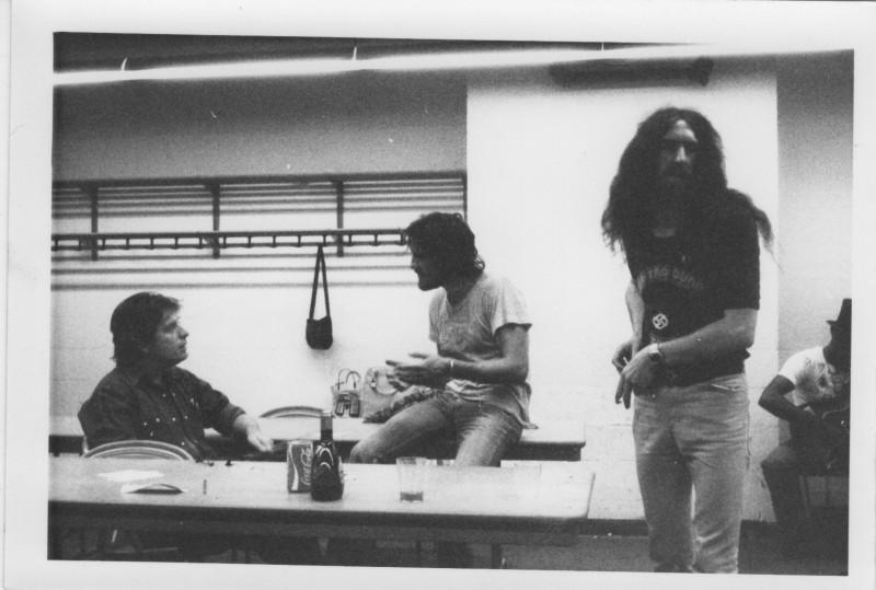 (L to R): Unknown Person, Jim Capaldi, and Viv Phillips circa 1974