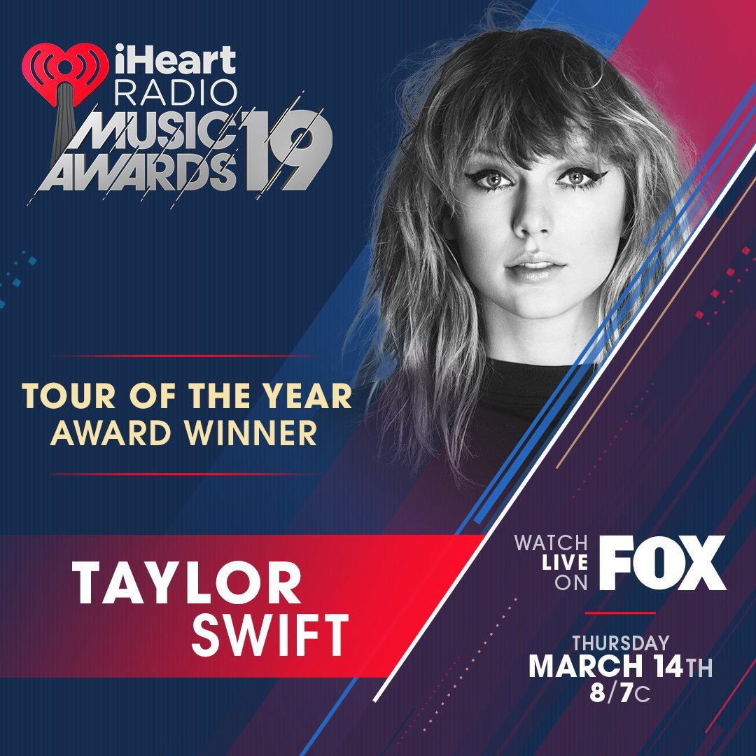 Taylor to Receive Best Tour Award for Reputation Stadium Tour at 2019 iHeart Awards