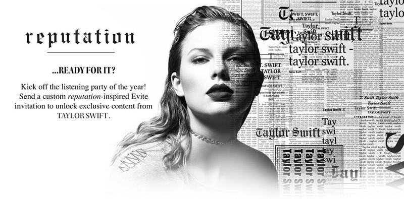 THROW A 'reputation' LISTENING PARTY WITH THEMED INVITATIONS FROM EVITE