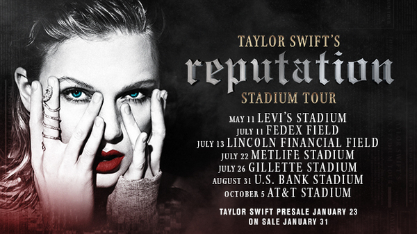 NEW DATES JUST ADDED ON TAYLOR SWIFT'S reputation STADIUM TOUR